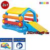 Детский надувной игровой центр-бассейн-плот с горкой и тентом Остров Intex 58294