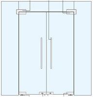 Стеклянные Двустворчатые Маятниковые Двери  с фрамугой и боковыми панелями.