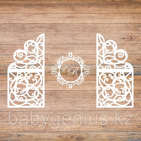 Свадебная ширма с монограммой и  инициалами, свадебная арка, фотозона, ажурные тумбы, фото 2
