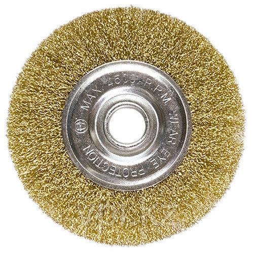 Плоская щетка для УШМ, 125*22,2мм латунированная витая проволока Matrix