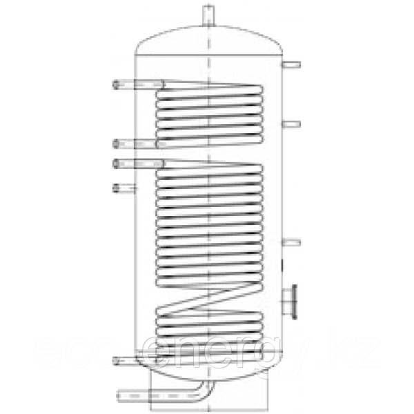 Бак ВТН-1, 1500 л из нержавеющей стали, 2 теплообменника