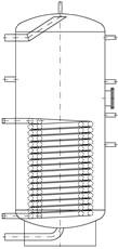 Бак ВТН-2, 1000 л из нержавеющей стали, 1 длинный теплообменник