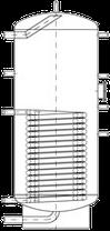 Бак ВТН-2, 120 л из нержавеющей стали, 1 длинный теплообменник