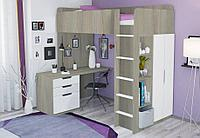 Кровать-чердак Polini Simple с письменным столом и шкафом вяз-белый, фото 1