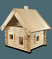 Деревянный березовый конструктор «Дача» 119 деталей