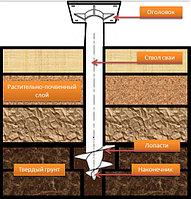 Сваи винтовые d 76 мм для укрепления берега, реперов и фундаментов домов, бань, заборов, опор ЛЭП, фото 1