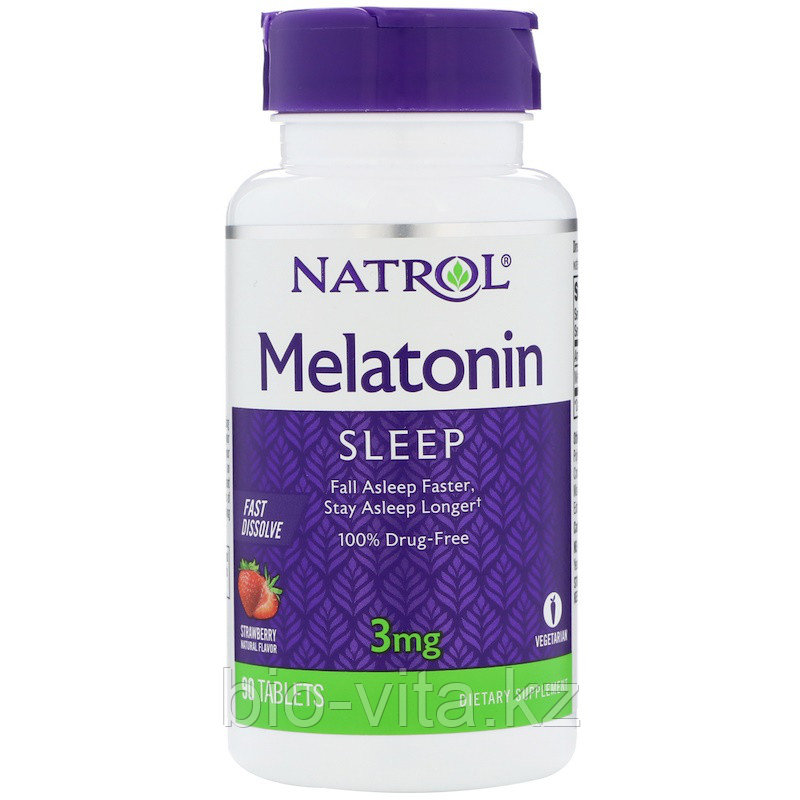 Natrol, Мелатонин, быстрорастворимый, клубника, 3 мг, 90 таблеток