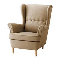 Кресло с подголовником СТРАНДМОН бежевый ИКЕА, IKEA , фото 1