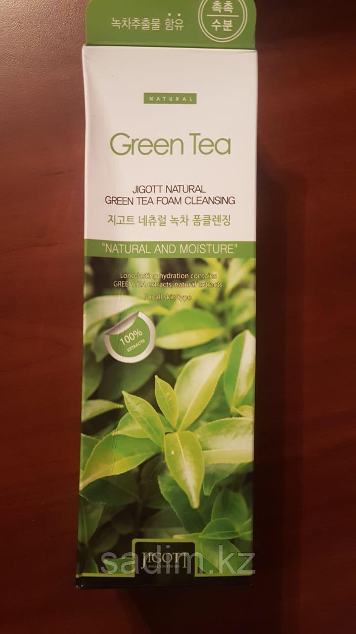 Jigott Natural Green Tea Foam Cleansing - Очищающая пенка с экстрактом зеленого чая