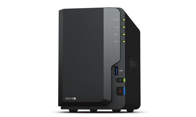 DS218play Сетевой NAS-сервер Synology DS218play, 2 отсека для HDD