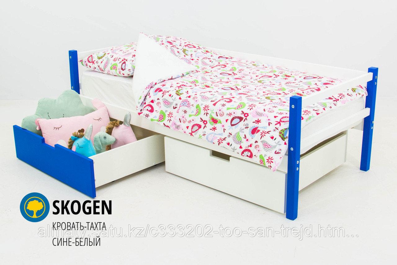 """Детская деревянная кровать-тахта Бельмарко """"Skogen сине-белый"""""""