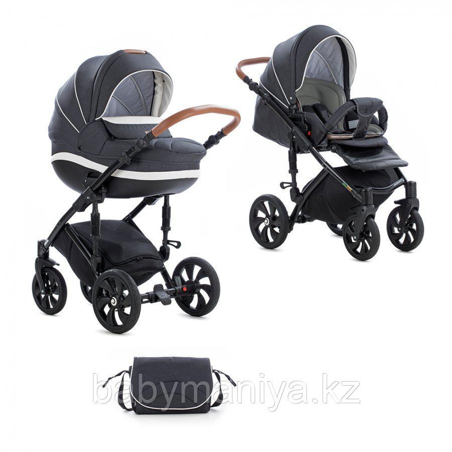 Детская коляска Tutis Mimi Style 2 в 1 Антрацит + кожа Белая