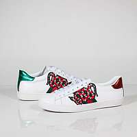 Кроссовки Gucci Ace Embroidered Leather with Snake White