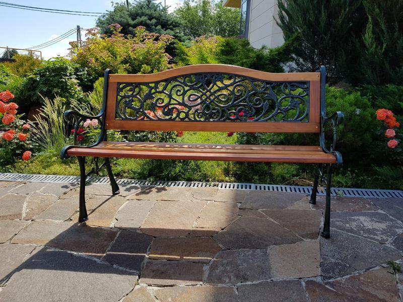 Скамейка садовая со спинкой