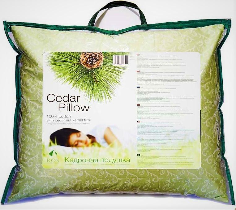 Кедровая подушка, с наполнителем из пленки ядра кедрового ореха, 60х40см