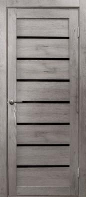Дверь Линия, цвет дуб дымчатый, черное стекло