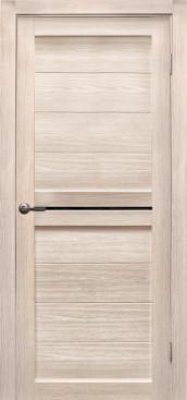 Дверь Вектор, цвет лиственница кремовая, черное стекло