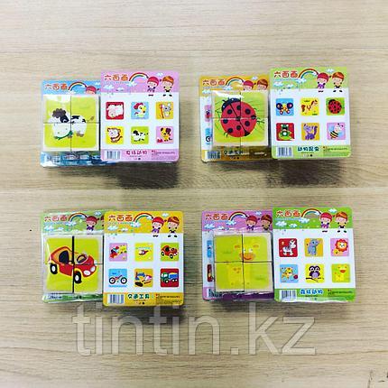 Деревянные кубики-пазлы из 4 элементов, фото 2
