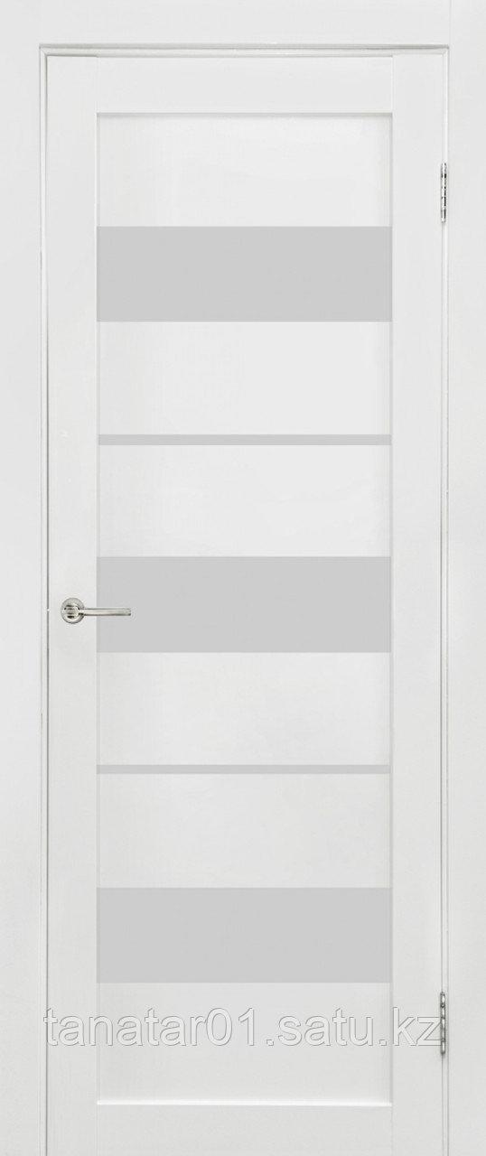 Дверь Параллель, цвет белый мат, матовое стекло