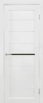 Дверь Вектор, цвет белый мат, черное стекло