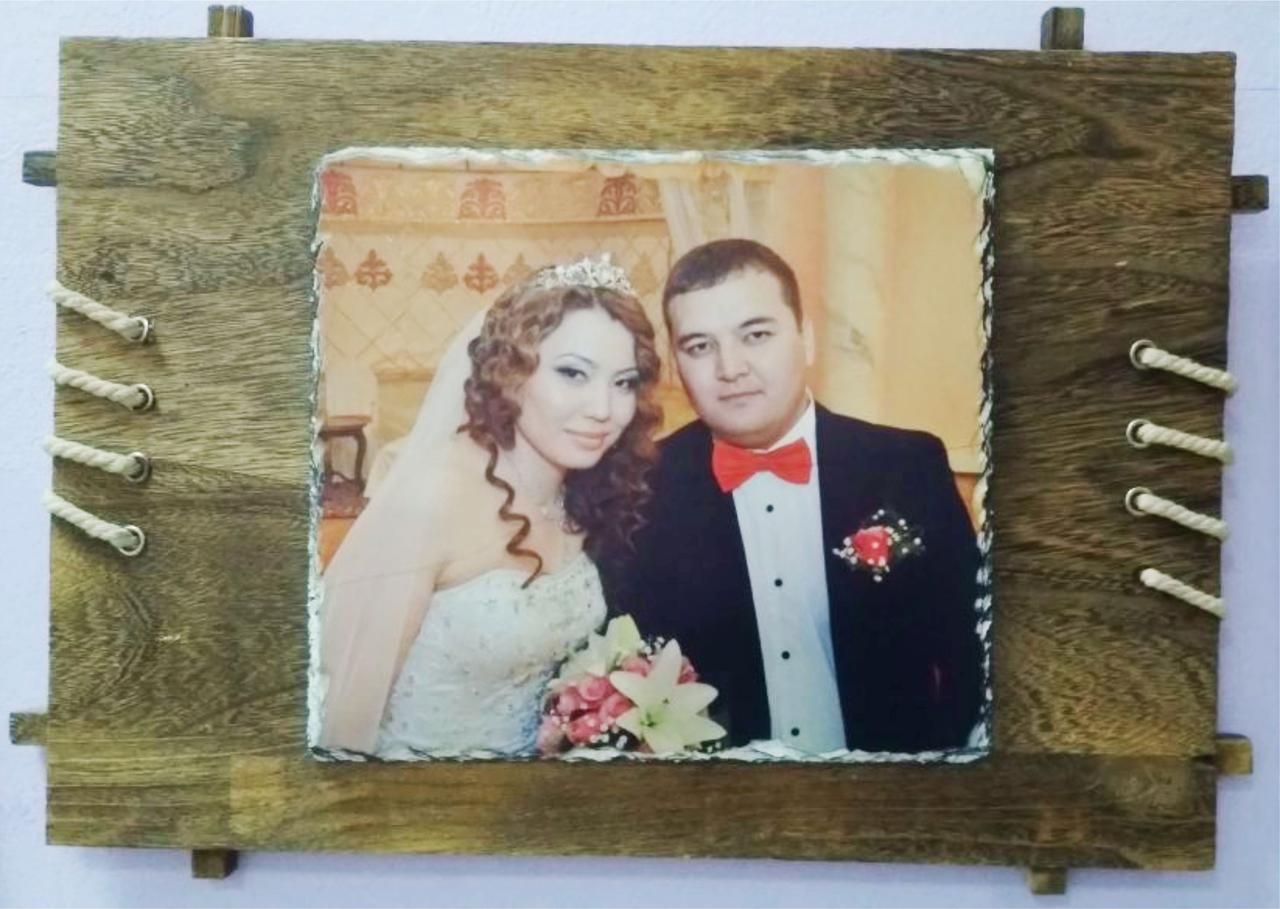 Фотокамень с деревянной рамкой