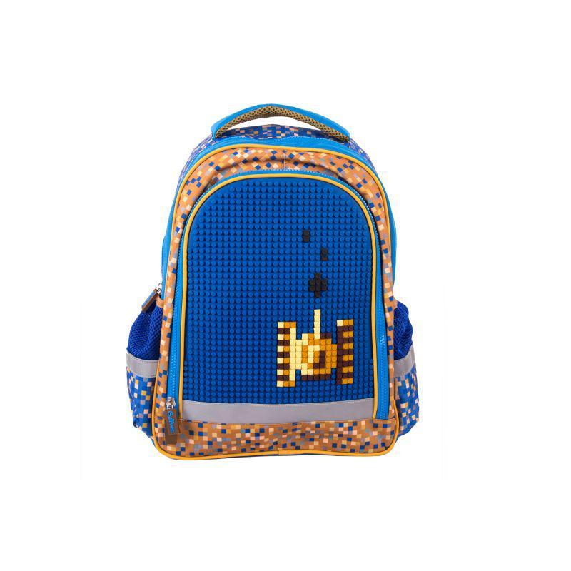 Школьный с пикса-дотами эргономичная спинка (синий)