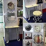 Набор из кованых изделий Пуфик+Консоль+Зеркало+Часы