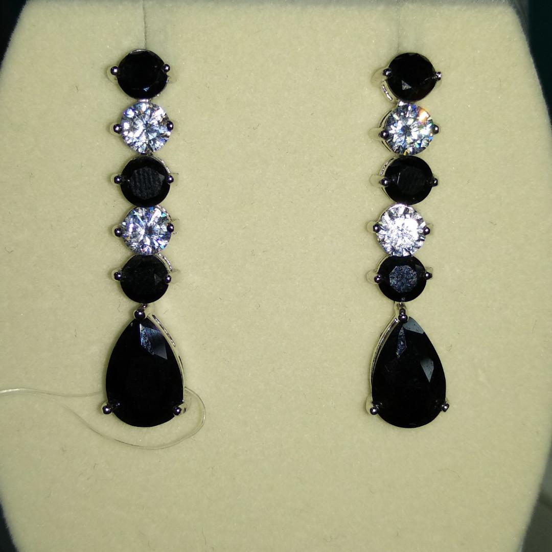 Серьги бижутерия с черными кристаллами Сваровски 🖤💎💙