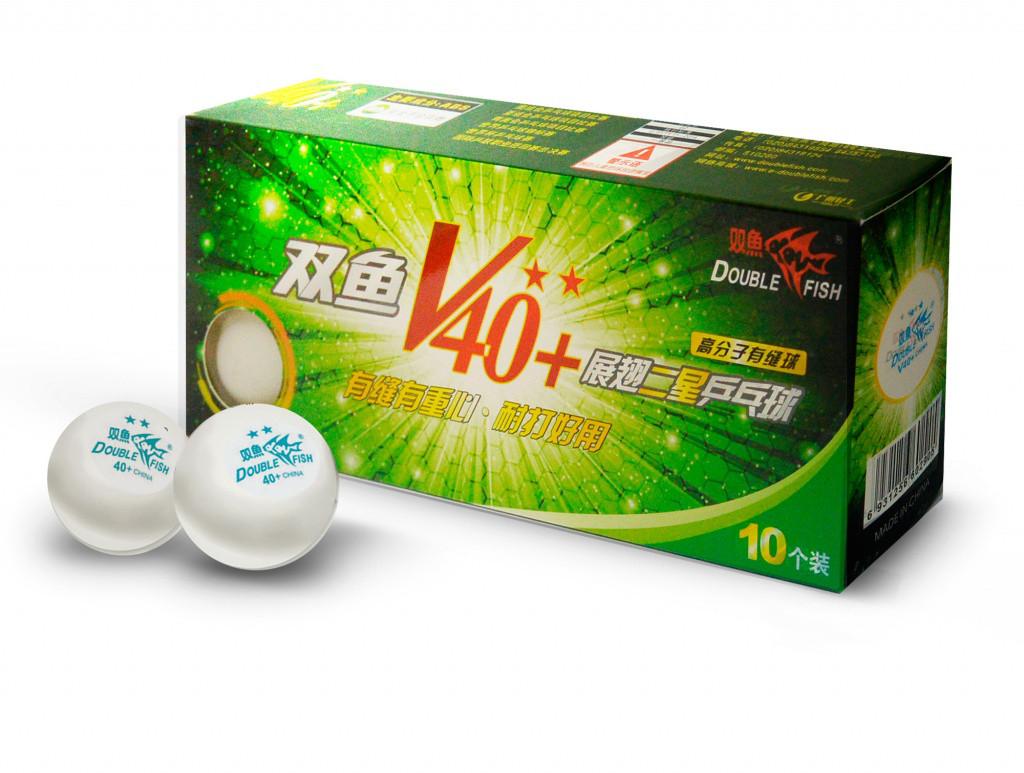 Мячи для настольного DOUBLE FISH 40+ 2*, 10 мячей в упаковке, белые. Для продвинутых игроков.