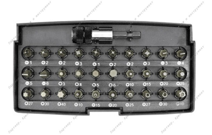 (57856) Набор бит 31 шт. S2 сталь + адаптор с защелкой (Fit)