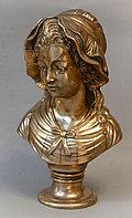 """Антикварная бронзовая скульптура """"Женская головка"""""""