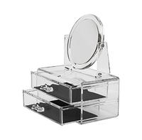 Шкатулка для косметики с зеркалом и двумя ящиками