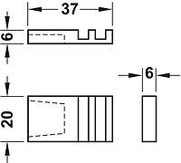Пазовый сухарь для раздвижных стеклянных дверей, пластмасса