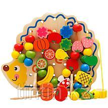 Деревянная шнуровка - Ежик с плодами, фото 2