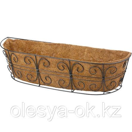 Пристенное кашпо с декором, 74 х 20 см, с кокосовой корзиной// PALISAD, фото 2