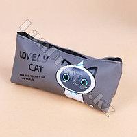 Школьный пенал кошка серый