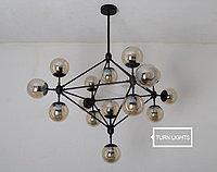 Люстра Молекула черная на 15 ламп, фото 1