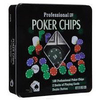 Набор для покера POKER CHIPS (2 колоды карт, 100 фишек с номиналом)
