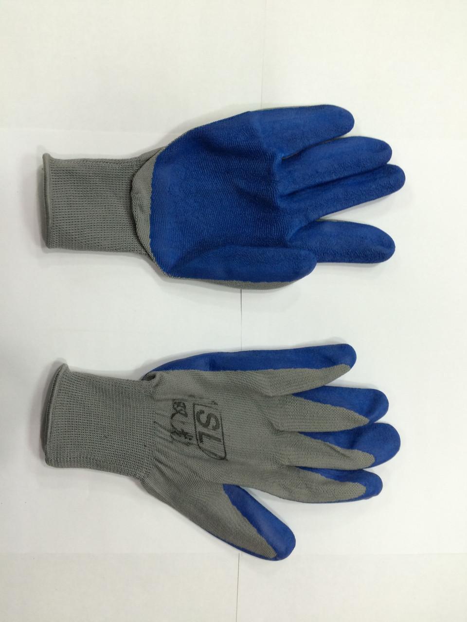 Перчатки х/б, с латексным обливом серо-синие