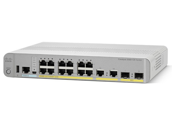 Коммутатор Cisco Catalyst, 12 x GE (PoE+), 2 x GE, 2 x SFP+, IP Base WS-C3560CX-12PD-S