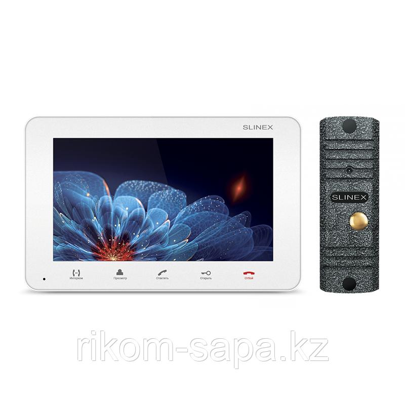 """Комплект домофона SM-07M Белый, цветной видеодомофон 7"""" + Панель вызова ML-16HR ANTIQUE"""