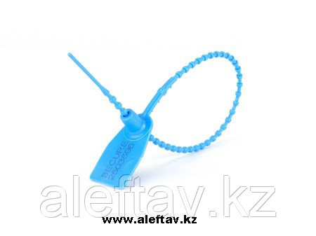 Plastic  pull up seal blue color/Пластиковый хомут с биркой голубого цвета