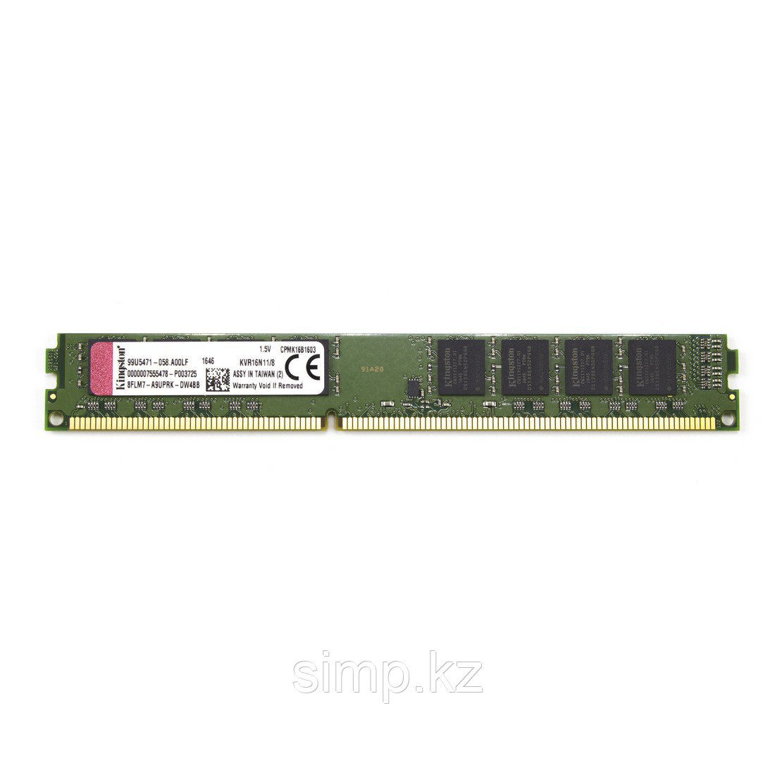 Модуль памяти Kingston KVR16N11/8 CL11 DDR3 8 GB DIMM <PC3-12800/1600MHz> 16 chip