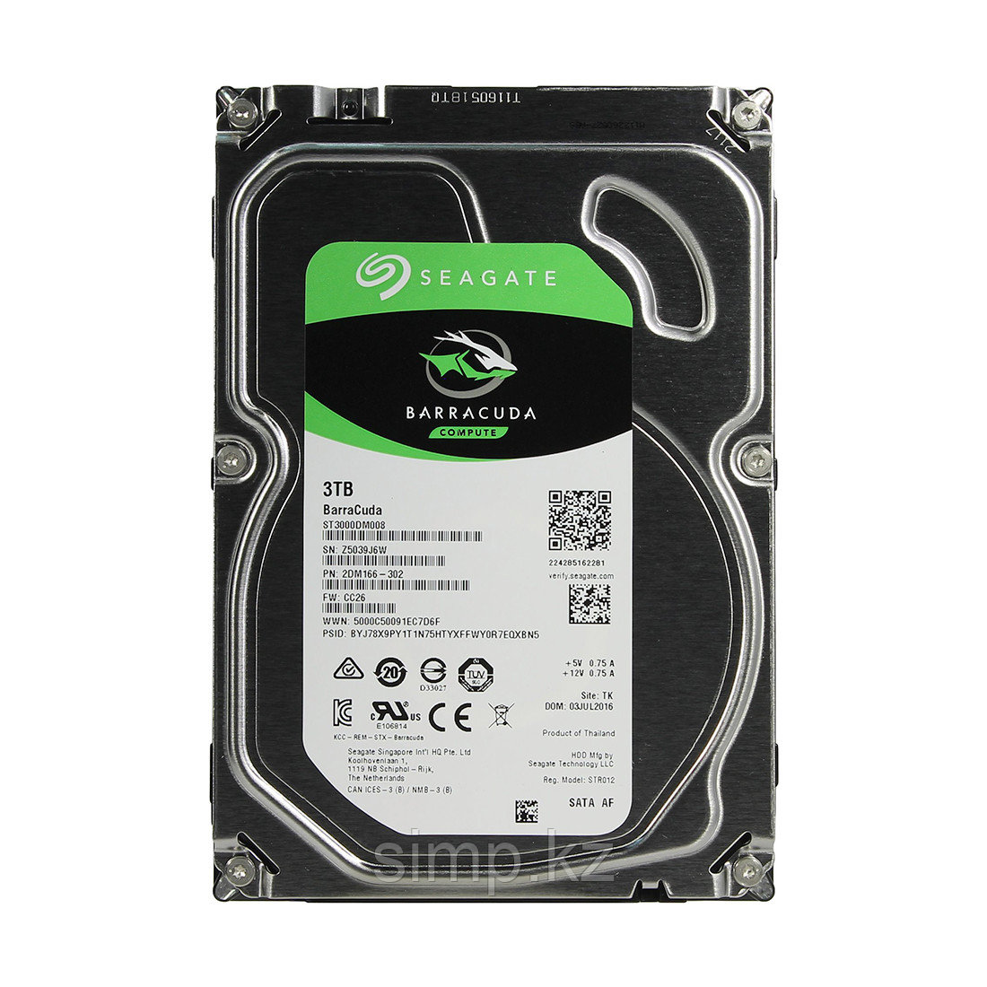 "Жёсткий диск HDD 3Tb Seagate Barracuda SATA6Gb/s 7200rpm 64Mb 3,5"" ST3000DM008"