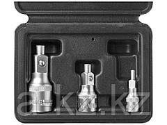 Адаптеры магнитные для торцовых головок набор ЗУБР 27712-H3, МАСТЕР  1/2, 3/8, 1/4, 3 шт.