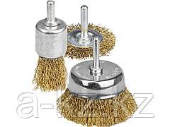 Набор щеток крацовок для дрели STAYER 35152-H3_z01, витая латунированная стальная проволока 0,3 мм, дисковая 50 мм, чашечная 50 мм, кистевая 25 мм, 3