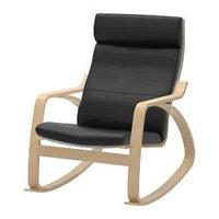 Кресло-качалка ПОЭНГ березовый шпон, Смидиг черный ИКЕА, IKEA Астана
