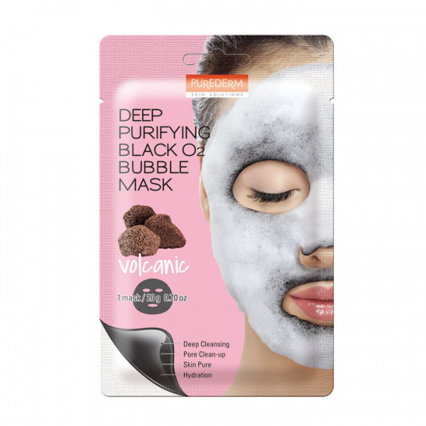 Purederm Deep Purifying Black O2 Bubble Mask Volcanic Вулканическая, кислородная маска для лица