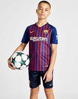 Футбольная форма ФК Барселона 2018-2019 домашняя детская (комплект футболка+шорты)