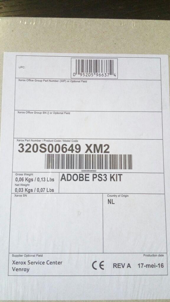 XEROX 320S00649 Печать PostScript для WorkCentre 7200